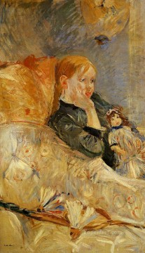 Berthe Morisot Painting - Little Girl with a Doll Berthe Morisot
