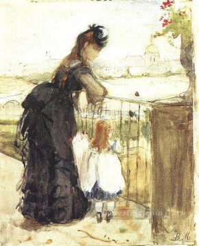 Berthe Morisot Painting - On the Balcony Berthe Morisot