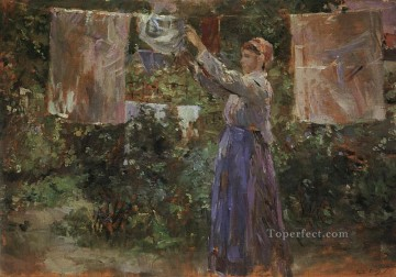 Berthe Morisot Painting - Peasant Hanging out the Washing Berthe Morisot