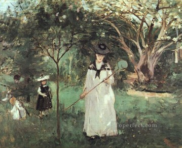 butterfly Painting - The Butterfly Chase Berthe Morisot