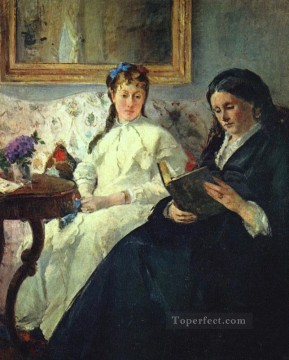Berthe Morisot Painting - The Mother and Sister of the Artist The Lecture impressionists Berthe Morisot