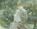 Young Woman Sewing in a Garden Berthe Morisot
