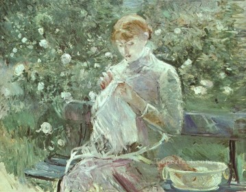 Berthe Morisot Painting - Young Woman Sewing in a Garden Berthe Morisot