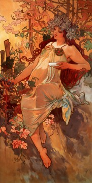 1896 Oil Painting - Autumn 1896panel Czech Art Nouveau distinct Alphonse Mucha