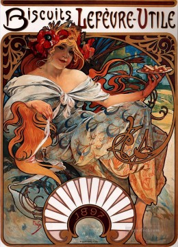 Biscuits LefevreUtile 1896 litho Czech Art Nouveau distinct Alphonse Mucha Oil Paintings