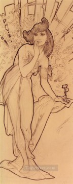 Mucha Art - Carnation Czech Art Nouveau distinct Alphonse Mucha