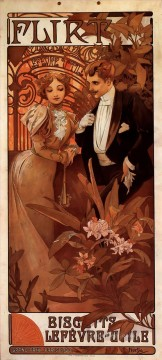 Flirt 1899 calendar Czech Art Nouveau distinct Alphonse Mucha Oil Paintings