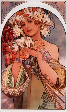 Flower 1897 litho Czech Art Nouveau distinct Alphonse Mucha Oil Paintings