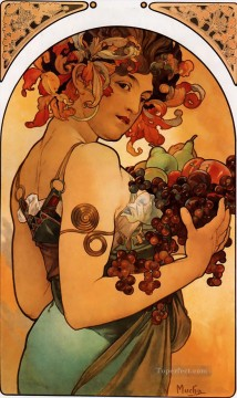 Fruit Painting - Fruit 1897 litho Czech Art Nouveau distinct Alphonse Mucha