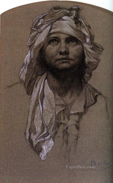 Mucha Art - Head of a Girl 2 Czech Art Nouveau distinct Alphonse Mucha