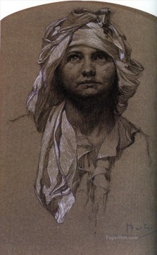 Alphonse Mucha Painting - Head of a Girl Czech Art Nouveau distinct Alphonse Mucha