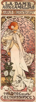 La Dame aux Camelias 1896 Czech Art Nouveau distinct Alphonse Mucha Oil Paintings