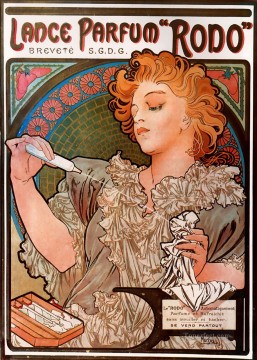 LanceParfum Rodo 1896 Czech Art Nouveau distinct Alphonse Mucha Oil Paintings
