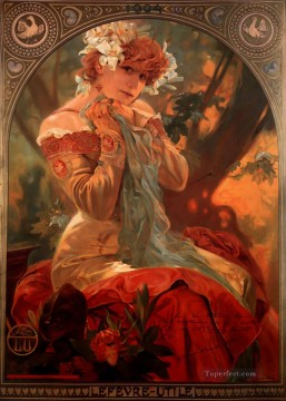 LefevreUtile 1903 Czech Art Nouveau distinct Alphonse Mucha Oil Paintings