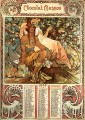 Manhood 1897 calendar Czech Art Nouveau distinct Alphonse Mucha