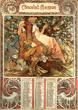 Mucha Art - Manhood 1897 calendar Czech Art Nouveau distinct Alphonse Mucha