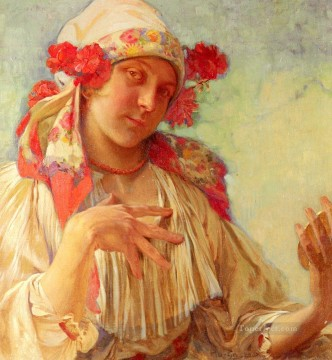 Maria Young Girl In A Moravian Costume Czech Art Nouveau Alphonse Mucha Oil Paintings
