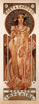 Hand Canvas - Moet and Chandon Cremant Imperial 1899 Czech Art Nouveau distinct Alphonse Mucha