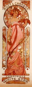 Hand Canvas - Moet and Chandon White Star 1899 Czech Art Nouveau distinct Alphonse Mucha