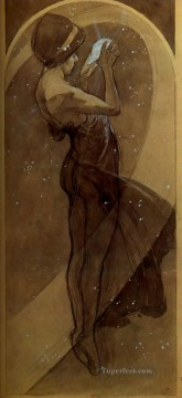 North Star 1902 pencil wash Czech Art Nouveau distinct Alphonse Mucha Oil Paintings