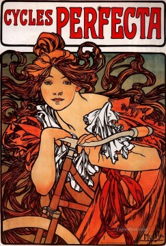 Perfecta Cycles 1902 Czech Art Nouveau distinct Alphonse Mucha Oil Paintings