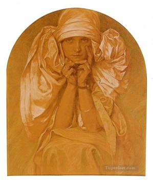 Artists Oil Painting - Portrait Of The Artists Daughter Jaroslava Czech Art Nouveau distinct Alphonse Mucha
