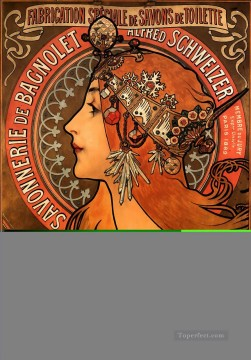 Savonnerie de Bagnolet 1897 Czech Art Nouveau distinct Alphonse Mucha Oil Paintings