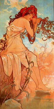 1896 Oil Painting - Summer 1896panel Czech Art Nouveau distinct Alphonse Mucha