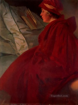 The Red Cape Czech Art Nouveau Alphonse Mucha Oil Paintings