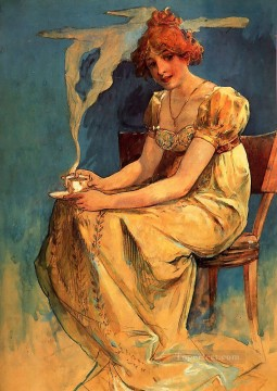 Mucha Art - Untitled watercolour Czech Art Nouveau distinct Alphonse Mucha