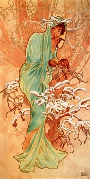 1896 Oil Painting - Winter 1896panel Czech Art Nouveau distinct Alphonse Mucha