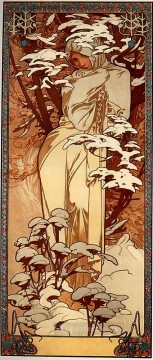 Winter 1897 panel Czech Art Nouveau distinct Alphonse Mucha Oil Paintings
