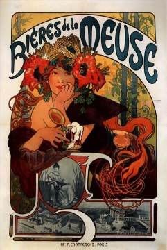 Bieres de la Meuse 1897 Czech Art Nouveau distinct Alphonse Mucha Oil Paintings