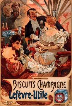 Biscuits ChampagneLefevreUtile 1896 Czech Art Nouveau distinct Alphonse Mucha Oil Paintings