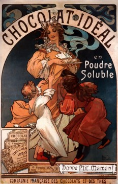 Chocolat Ideal 1897 Czech Art Nouveau distinct Alphonse Mucha Oil Paintings