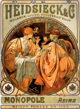 Heidsieck and Co 1901 Czech Art Nouveau distinct Alphonse Mucha Oil Paintings