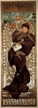 1896 Oil Painting - Lorenzaccio 1896 Czech Art Nouveau distinct Alphonse Mucha