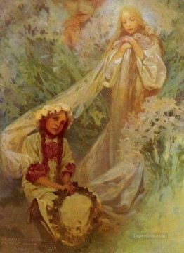 Maria Madonna Of The Lilies Czech Art Nouveau Alphonse Mucha Oil Paintings