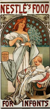 Nestles Food for Infants 1897 Czech Art Nouveau distinct Alphonse Mucha Oil Paintings