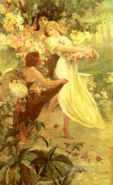 Spirit Of Spring Czech Art Nouveau Alphonse Mucha Oil Paintings