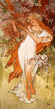 Spring 1896 panel Czech Art Nouveau distinct Alphonse Mucha Oil Paintings