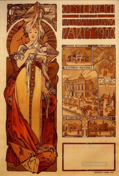 Austria 1899 Czech Art Nouveau distinct Alphonse Mucha Oil Paintings