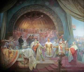 King Premysl Otakar II of Bohemia Alphonse Mucha Oil Paintings