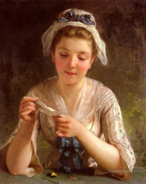 La Lettre Academic realism girl Emile Munier Decor Art