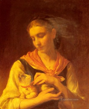 Emile Munier Painting - The Favorite Kitten Academic realism girl Emile Munier