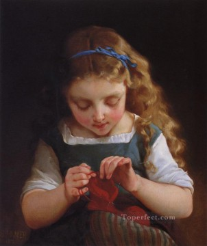 Emile Munier Painting - careful stitch Academic realism girl Emile Munier