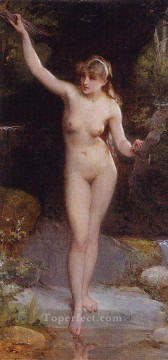 Emile Munier Painting - la baigneuse Academic realism girl Emile Munier