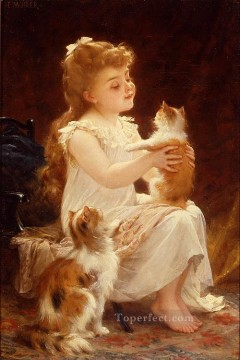 playing with the kitten Academic realism girl Emile Munier Decor Art