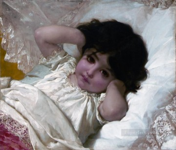 Emile Munier Painting - portrait de marie louise Academic realism girl Emile Munier