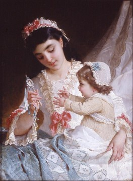 distracting the baby Academic realism girl Emile Munier Oil Paintings
